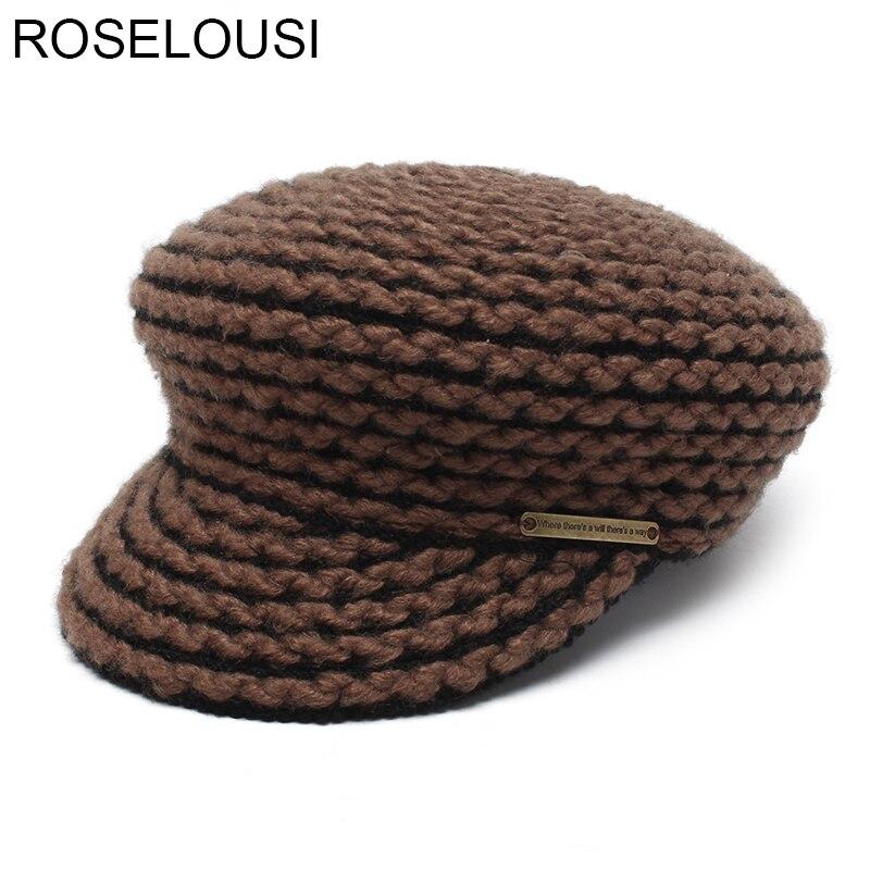 ROSELUOSI Military Hat For Women 2017 Autumn Winter Woolen Military Caps Ladies Casual Hats Female Casquette