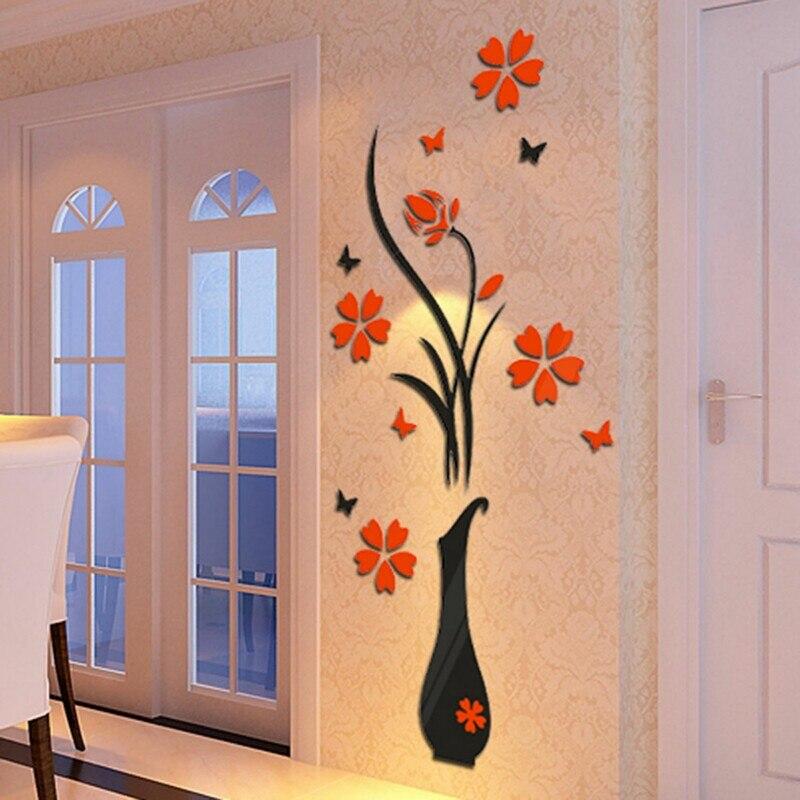 Etiqueta de la pared DIY Arcylic 3D Arte Florero Árbol Tatuajes de Pared Pegatinas de TELEVISIÓN de Fondo Papel Tapiz de Flores Decoración Para El Hogar Sala de Entrada-forma