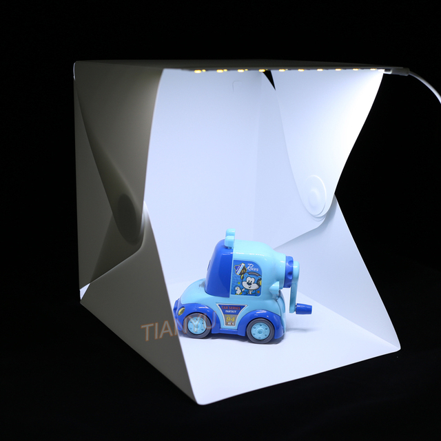 20*20cm 30*30cm 40*40cm Mini Folding Studio Diffuse Soft Box Lightbox With LED Light Black White Photography Background Photo 2