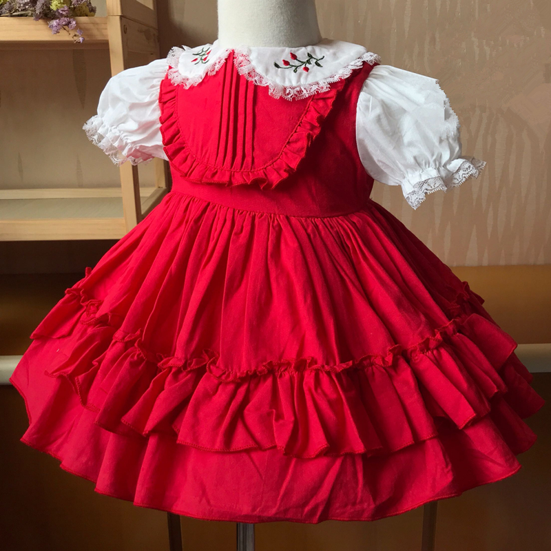 Boutique Hand Made Baby Frocks Girl Embroidery Dress Children Lolita Style Short Sleeve Ball Gowns Infant Spanish Clothing