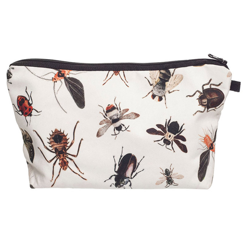 Female Waterproof Cosmetic Organizer Bag Makeup bag Printing Insect Fashion Women Multifunction Beauty