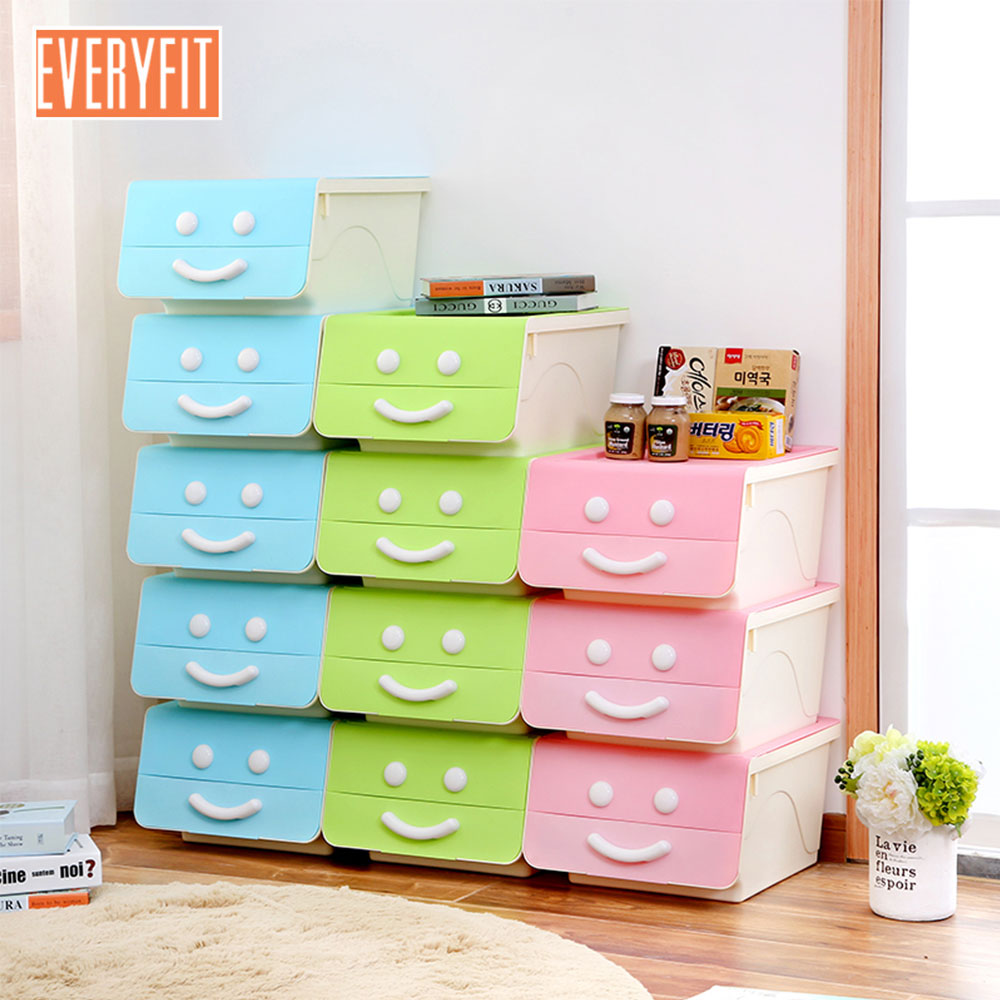 Can be Superimposed Storage Box Bedside Table For Clothing and Other Daily Use Items Side open smiley face box