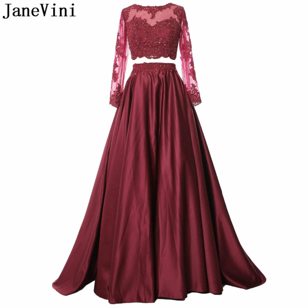 JaneVini Elegant Burgundy Two Piece   Prom     Dress   Long Sleeve Appliques Beaded Backless A Line Floor Length Satin Formal   Prom   Gowns