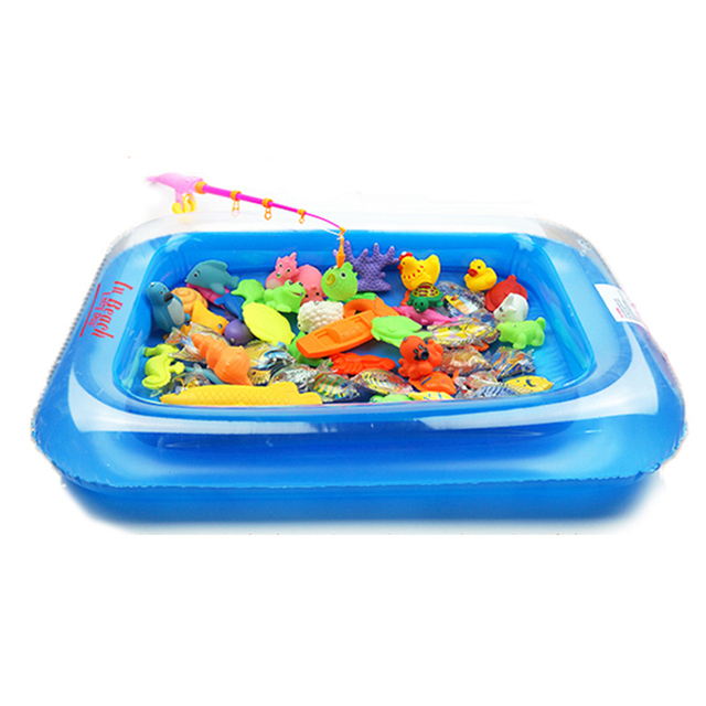 new magnetic toys kids fishing toy set with inflatable pool big fish