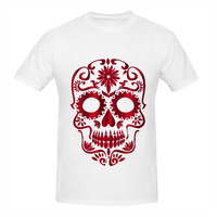 RTTMALL 2017 Kişilik Vermilion Şeker Kafatası Guy Teeshirt Aile Ev Tekstili O Boyun Temel Mens Kırmızı Dövme T Shirt camiseta Homme
