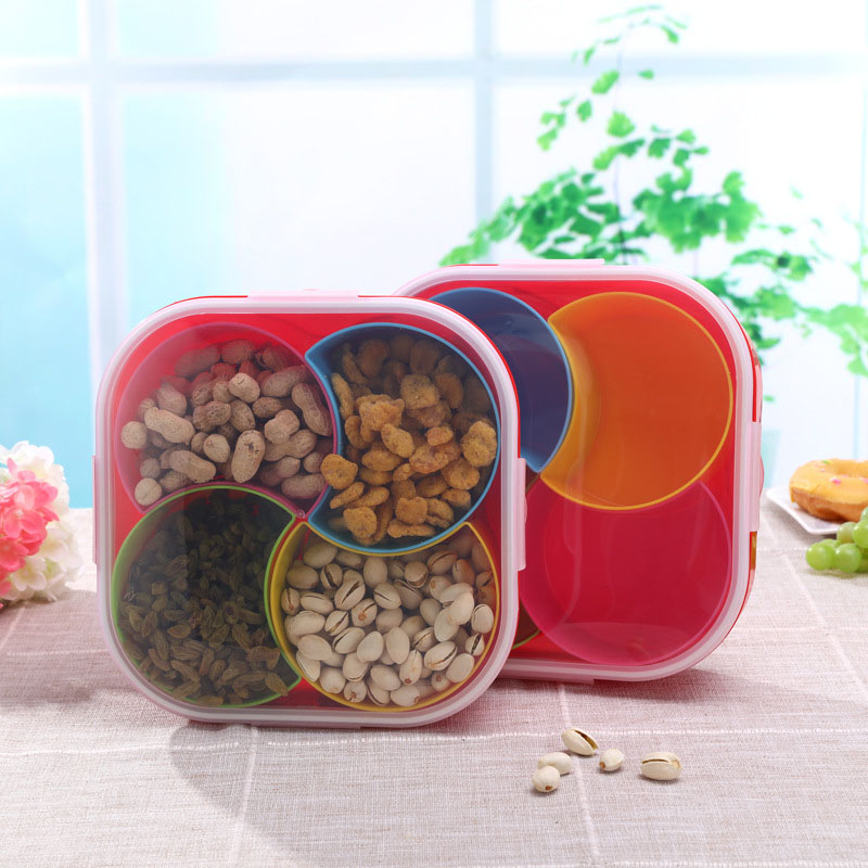 Portable Fruit Storage Box Plastic 4 Lattices Dry Fruits Snacks Sealed Tank Home Kitchen Food Container Case FP8