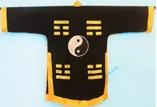 2019 unisex taoism clothing uniforms taoist cassock robe martial arts suits priest cranes garments costume yellow(China)