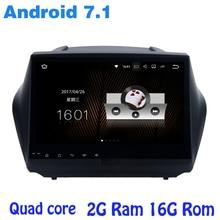 Quad core Android 7.1 radio de coche dvd gps para hyundai IX35 Tucson con 2G RAM wifi 4G RDS USB audio estéreo espejo enlace sáb NAVI