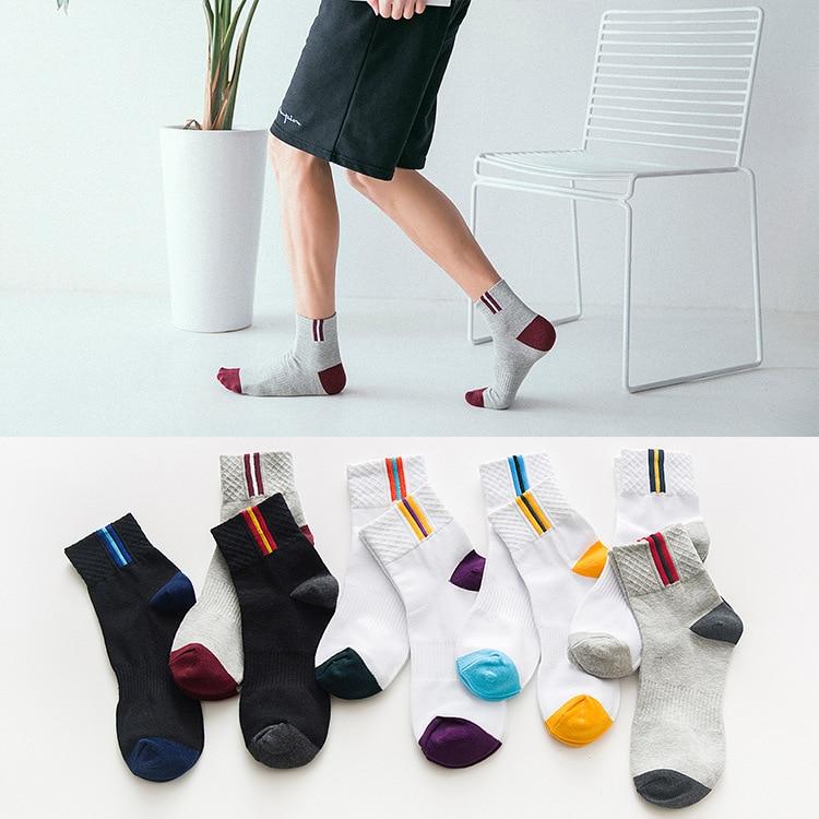 2018 8 pcs Men Socks Casual Cotton Socks Men Fashion Solid Color Socks