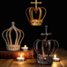 American Classic Copper Iron Crown Candlestick Retro candelabra  wall candle holders Home Props decorations Wedding Gifts