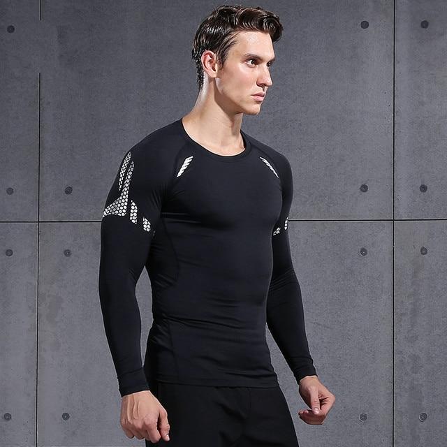 9f3c8f96123f Quick Dry Running Shirt Men Compression Sport Fitness Running T-Shirt Mesh  basketball Body Building Clothes GYM Running T Shirt