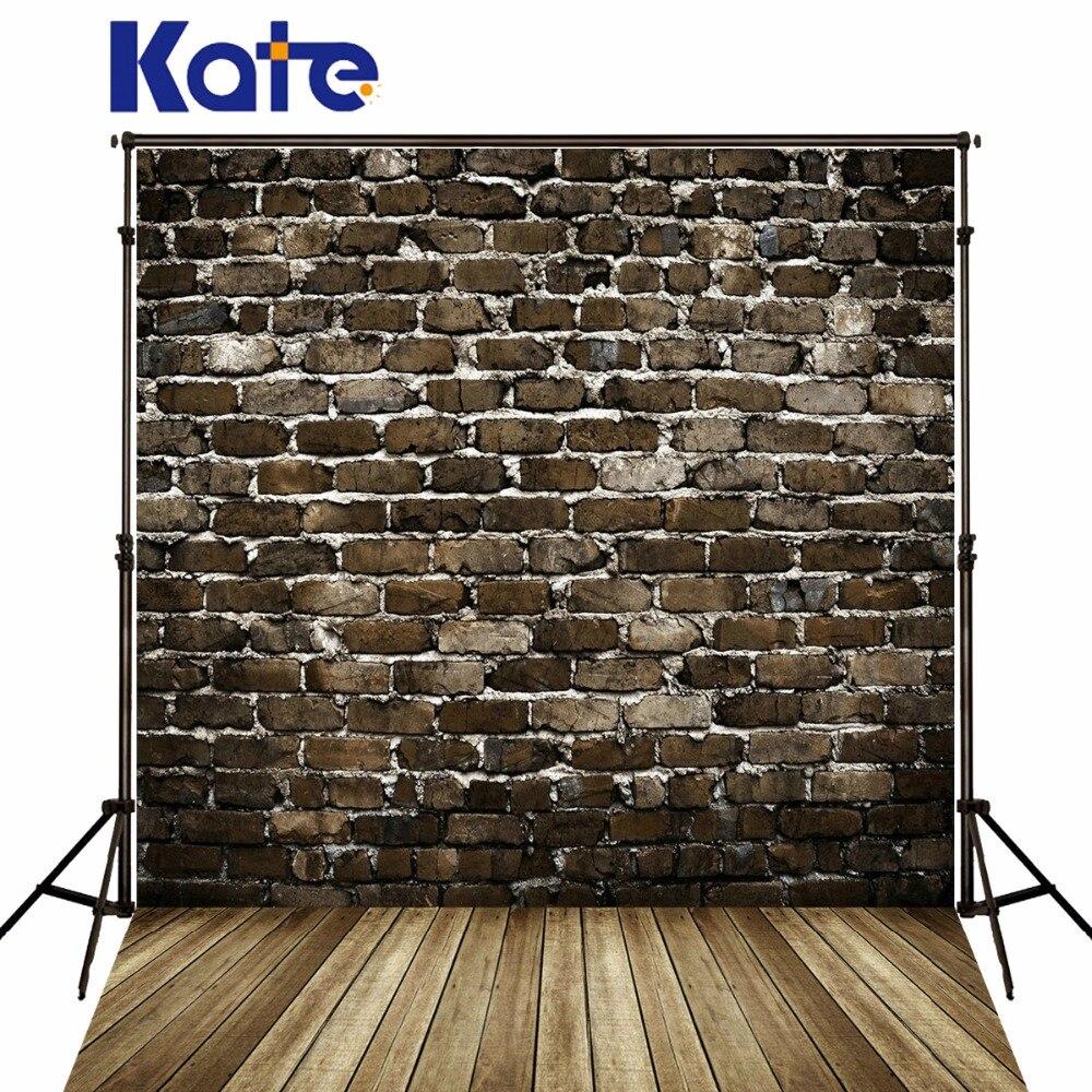 Kate Retro Brick Photography Backdrops Brown Wood Floor Gray Brick Wall For Children,Wedding Photo Studio Background