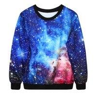 Adogirl Winter Autumn 3D Galaxy Space Print Punk Women Fashion Hoodies Pullover Round Neck Sweatshirt Women