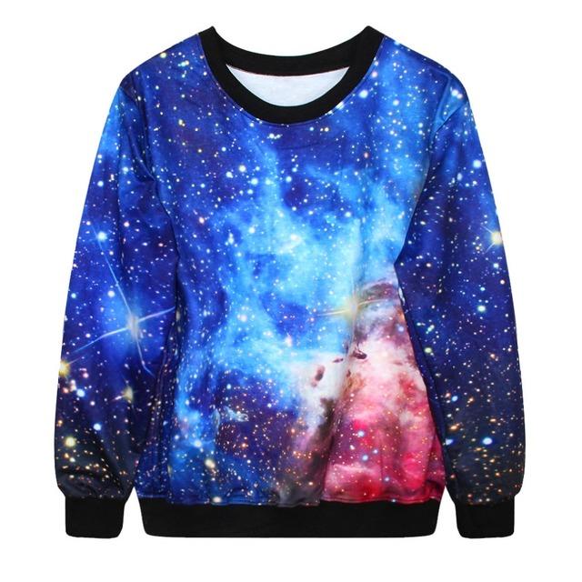 Adogirl otoño invierno sudaderas 3d galaxy espacio imprimir punk mujeres moda pullover cuello redondo camiseta hombres de las mujeres 10 modelos