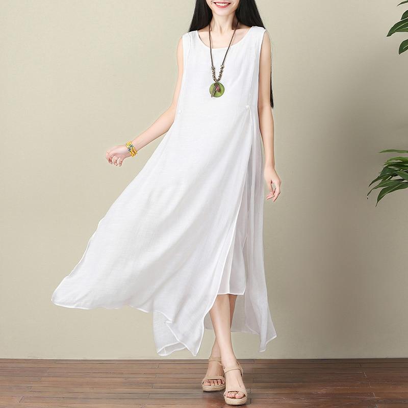 1e53386672b Summer dress Women White Sleeveless Beach Dress plus size Casual Loose  Linen Dresses lady Double layer Maxi Tank dress vestidos