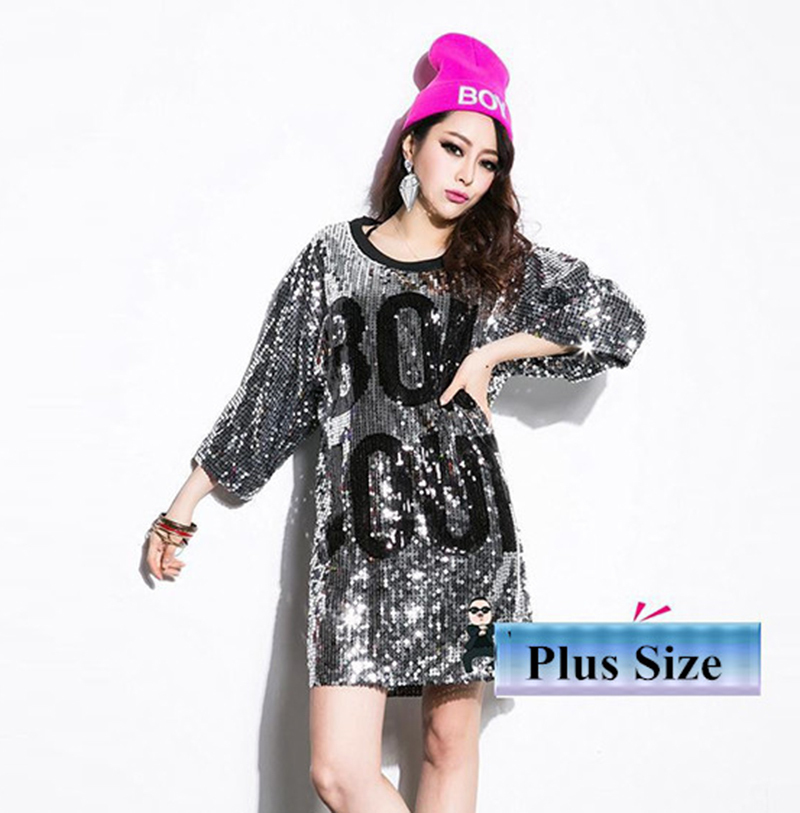 e7857ad8fb Free Shipping Summer Fashion Sequined T Shirt Dress Sequins Loose Dress  Knee Length Paillette Dress Female Letter Printed Dress on Aliexpress.com |  Alibaba ...