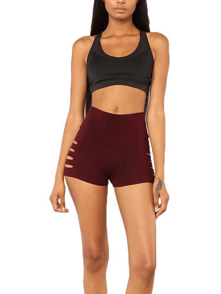 Sexy Hollow Out damskie szorty na lato elastyczny pas Athleisure Booty sportowe spodenki dla motocyklisty dla kobiet czarny fitness krótki Mujer