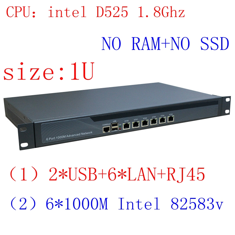 Full Gigabit Multi Wan Core Routers With 6 82583v Lan Intel D525 1.8G Support ROS Mikrotik PFSense Panabit Wayos Barenbone Pc