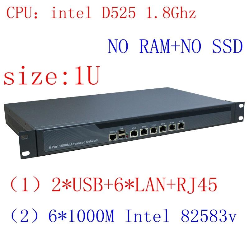 Full Gigabit Multi Wan Core Routers With 6 82583v Lan Intel D525 1.8G Support ROS Mikrotik PFSense Panabit Wayos Barenbone Pc