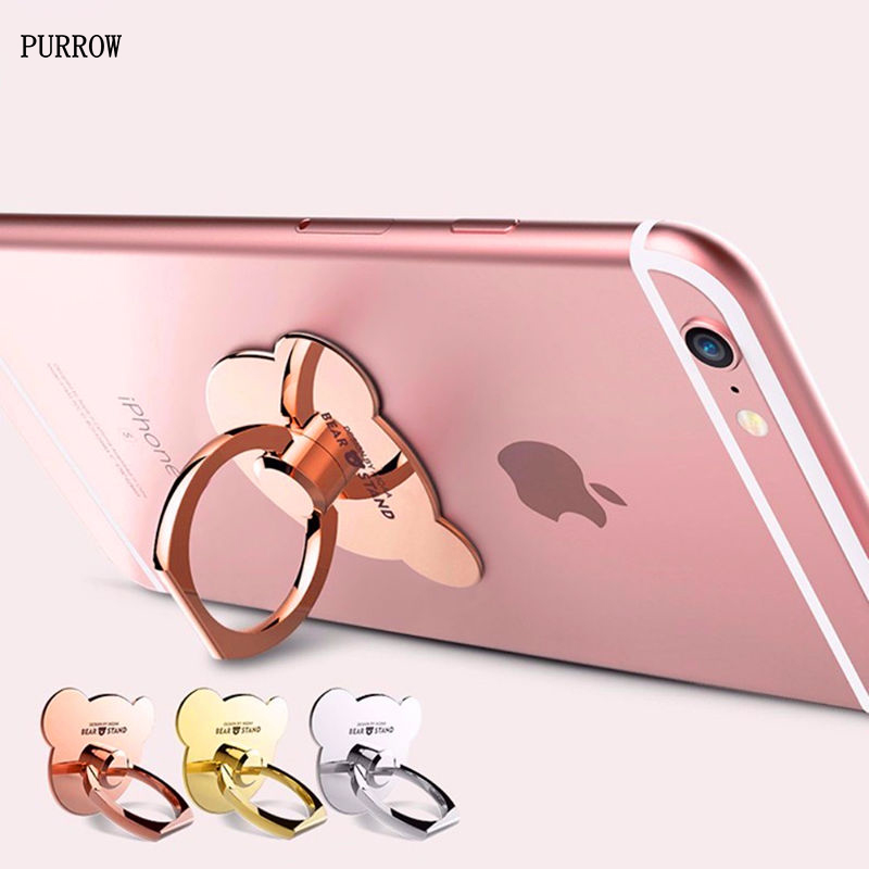 PURROW New Finger Ring Buckle Bracket 360 Rotating Metal Stand Holder For iPhone iPad Samsung All Smart Phone Luxury Bear Style