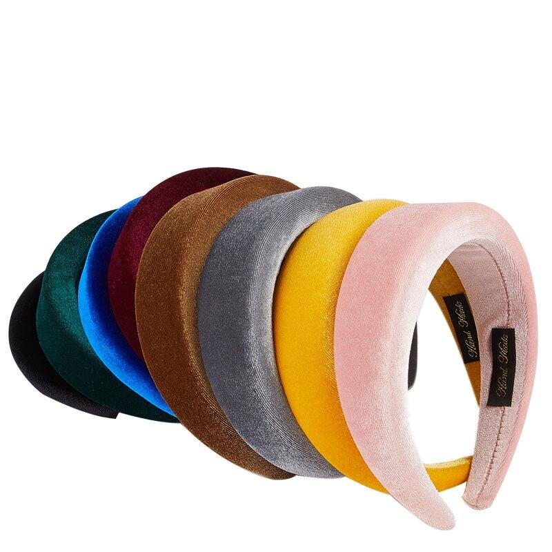 Fioday New Fluorescent Thick Velvet Headbands for Women Fashion   Headwear   Wide Plastic Rims Hairbands Bezel Hoops Drop Shipping