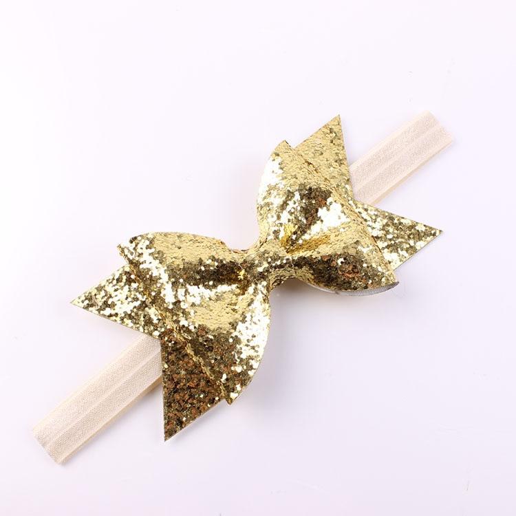 Gold Baby Headband Glitter Bow Headband for Children Adult Glitter Fabric Bow Baby Girl Headband Hair Accessories