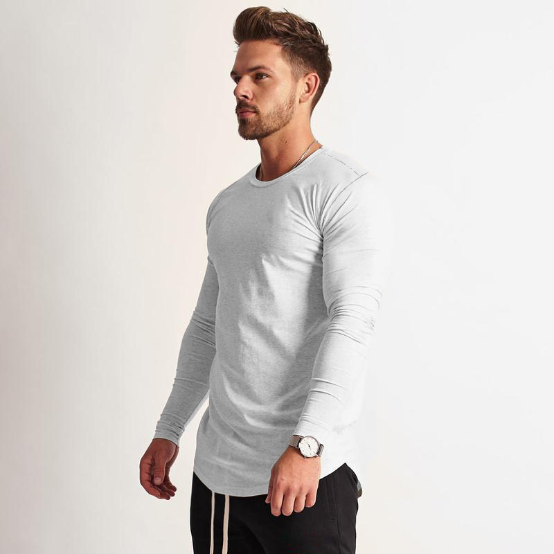 2019 Fashion O Neck Long Sleeve T Shirt Men Slim T-Shirt Tops Casual Muscle Tops Mens Summer Autumn Cotton Gyms Clothing