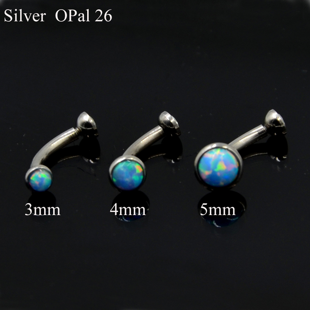 1pc Opal and CZ Gem Eyebrow Barbell Ring Ear Tragus Cartilage Earring Stud Body Piercing Jewelry with Internally Thread 16g 1