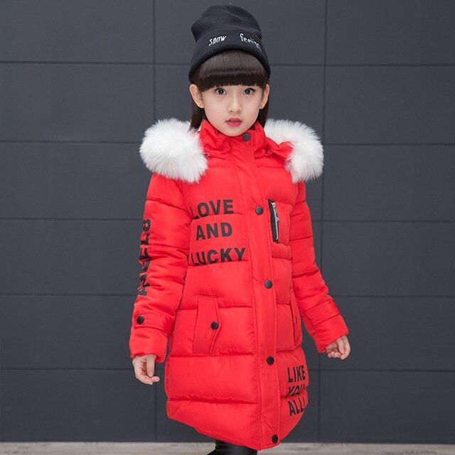 60ca60722 2018 Girls Winter Jackets Cotton Padded Parkas Fur Hooded Coats Kids ...