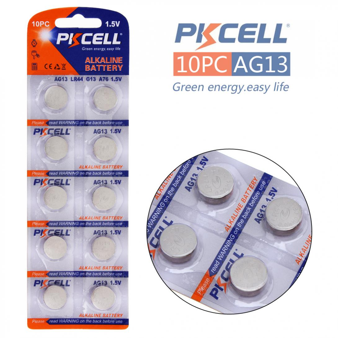 PKCELL 1Pack/10Pcs G13 Batteries 1.5V AG13 357A A76 303 LR44 SR44SW SP76 L1154 RW82 RW42 Alkaline Cell Button Battery