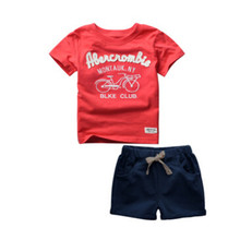 100% Cotton 2016 Baby Boys Clothing Toddler 2pcs Children Suits Summer Kids Clothes Sets Short Sleeve