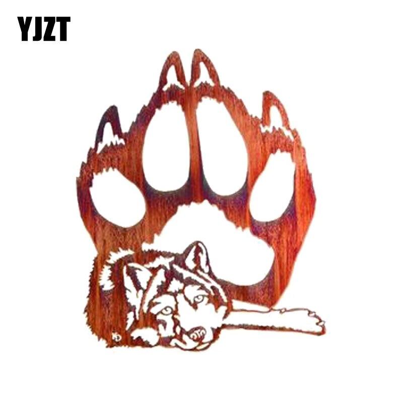 YJZT 10,5 см * 12,8 см забавная Волчья лапа печатная Наклейка ПВХ наклейка для мотоцикла автомобиля 11-00516