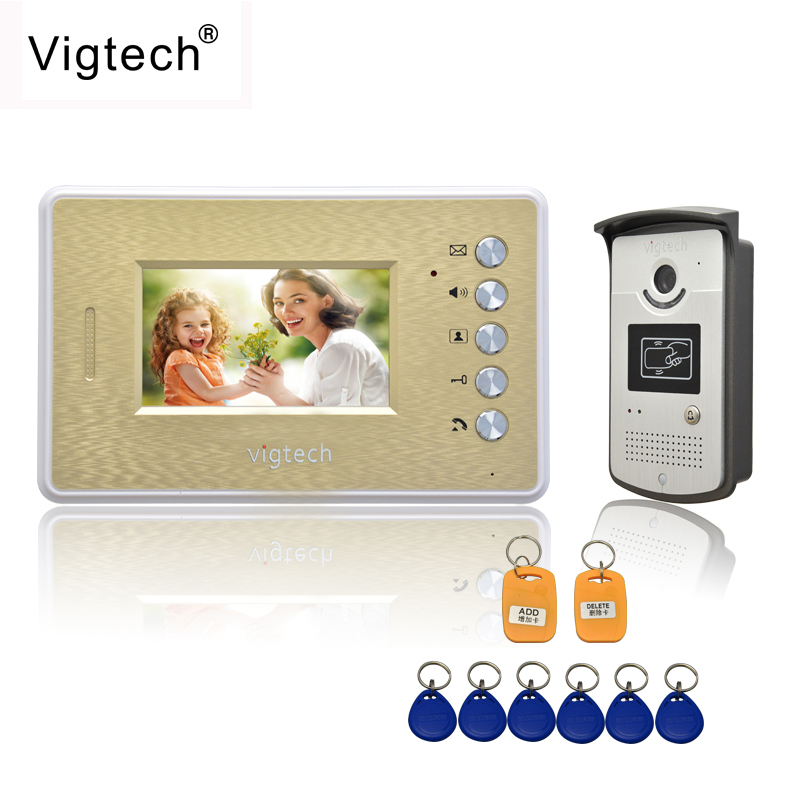 Vigtech Home 4.3LCD monitor Speakerphone intercom Color Video Door Phone doorbell access Control System doorphone free shipping
