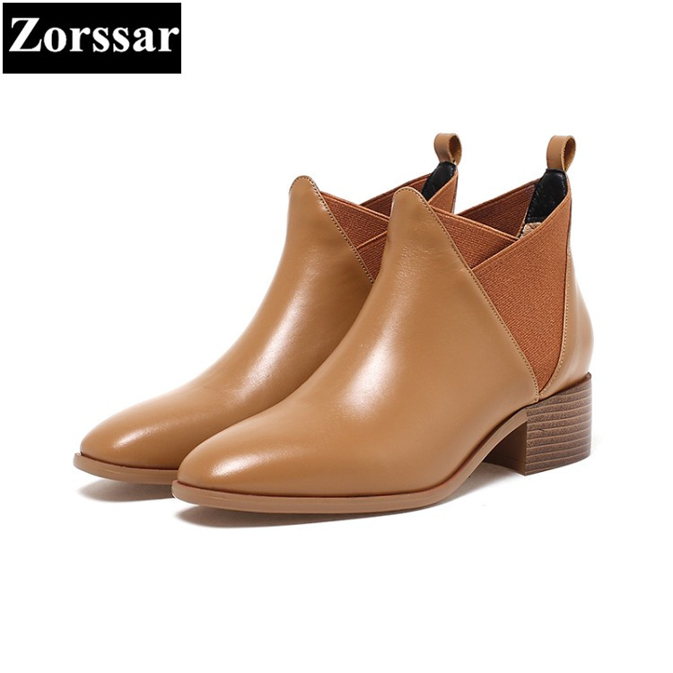 {Zorssar} 2017 NEW fashion High heels Women Chelsea Boots Square toe leisure low heel ankle Riding boots winter female shoes zorssar brands 2018 new arrival fashion women shoes thick heel zipper ankle chelsea boots square toe high heels womens boots