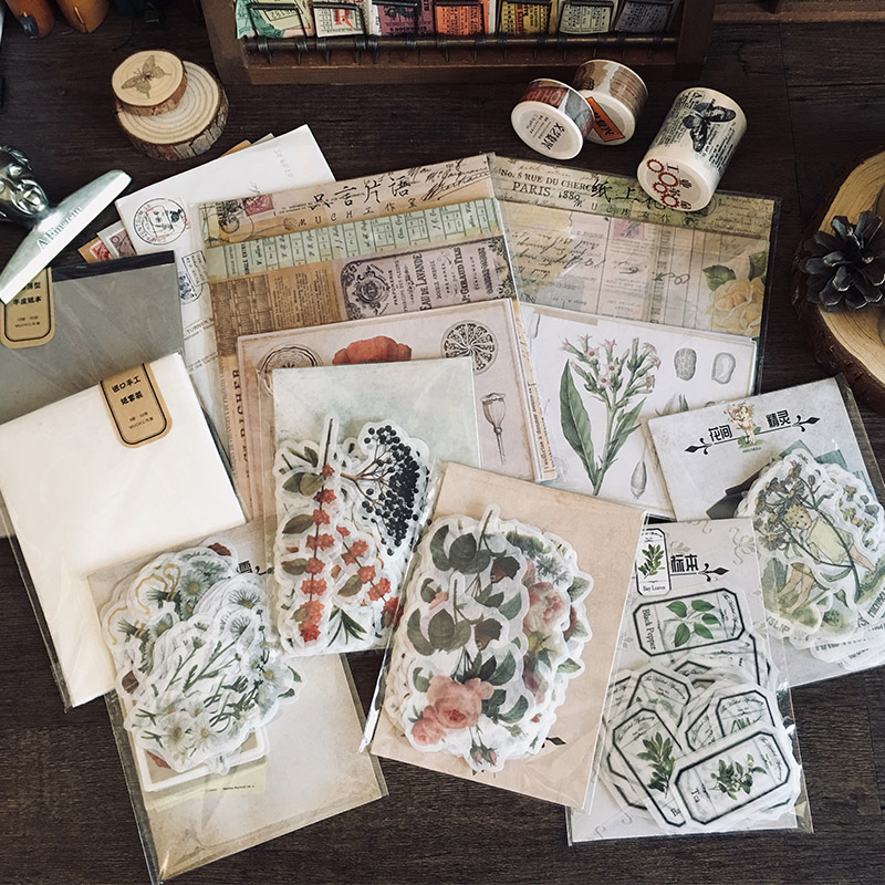 Vintage Plants And Flowers Elf Herbarium Decoration Stationery Sticker Diy Ablum Diary Scrapbooking Label Sticker Stationery