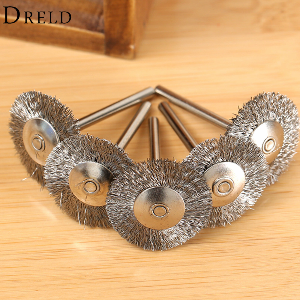 10x rotary mini tools steel wire wheel brushes cup rust cleaning - 5pcs Dremel Accessories 25mm Polishing Brush Wire Wheel Brushes For Drill Rotary Tool Polishing Grinding Tools