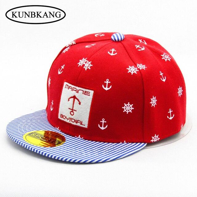 3a7da5a87d6 New Kids Cartoon Anchor Cotton Baseball Cap Embroidery Letter Snapback Hat  Baby Boys Girls Stripe Hip