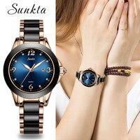 Relogio feminino 2019New SUNKTA Quartz Mulheres Relógios Senhoras De Aço Sala de Cerâmica Relógio de pulso Marca Top Relógio de Luxo de Moda Feminina|Relógios femininos| |  -