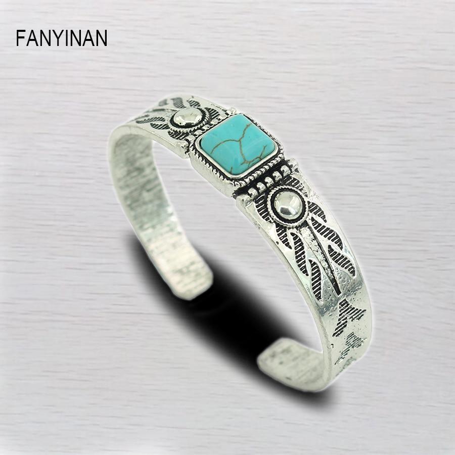JIANXI Bohemian Vintage Green Stone BraceletsBangles Men Silver Color Statement Stones Jewelry Gift