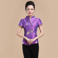 Brand New Arrival Fashion Purple Short Sleeve Shirts Chinese Traditional Women's Blouses Festive Tops M L XL XXL 3XL 080607