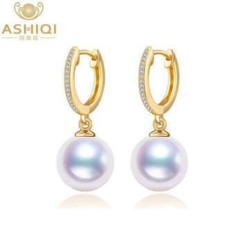 ASHIQI 8-8.5mm Akoya Pearl Earrings Natural pearls for women Classic Perfectly Round 925 Sterling Silver hoop earrings