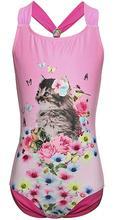 MAICO swimwear for Girls Beach Sport 1-Piece Swimsuit Bathing Suit, Smile Stripe/Cat Print
