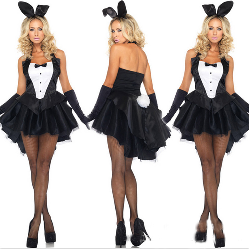 Bunny Girl Rabbit Costumes <font><b>Sexy</b></font> <font><b>Halloween</b></font> Costume for women Adult AnimalCosplay Fancy <font><b>Dress</b></font> Clubwear Party Wear Women Plus Size image