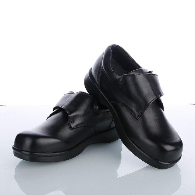 146b500eca O Envio gratuito de Pé Diabético Camada de Sapatos de Couro Do Dedo Do Pé  Plana