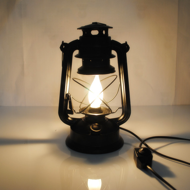 Light At Home Lamp Vintage Kerosene Lamp Lantern Power Supply Plug In Lamp  Nostalgic 28cm