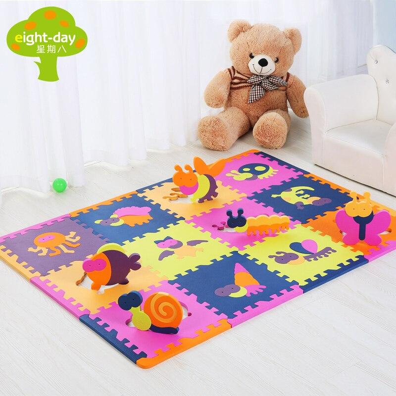 12 stücke Chinese Zodiac Schaumstoffmatte Tier Kinder Spielmatte Sets Hause Spielen Fliesen Kinder Puzzle Matte jeder