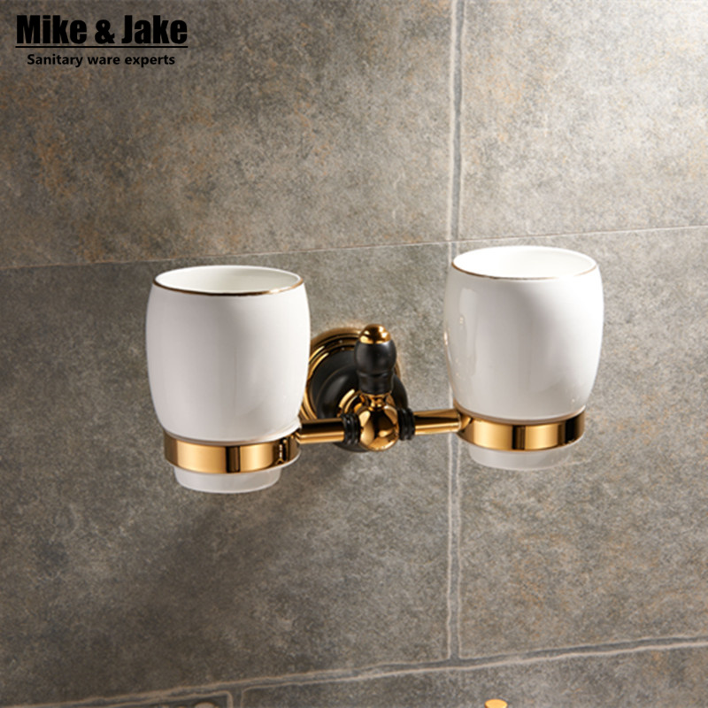 Modern golden brass double cup holder luxury style Golden copper toothbrush double tumbler&cup holder wall mount bath product luxury golden brass three cup holder luxury style golden copper toothbrush double tumbler 3pcs cup holder wall bath cup rack