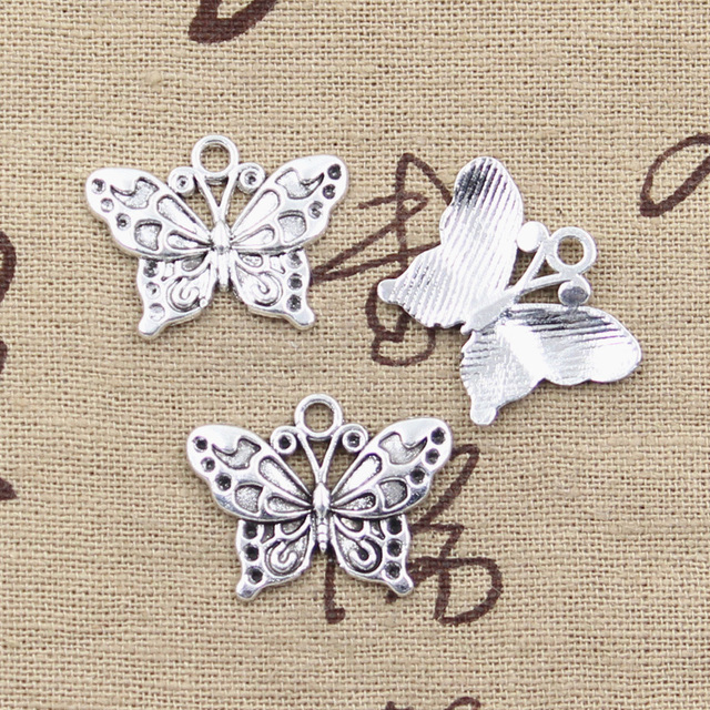 15 piezas dijes mariposa 20x25mm colgantes plateados antiguos que hacen joyería de plata tibetana hecha a mano DIY