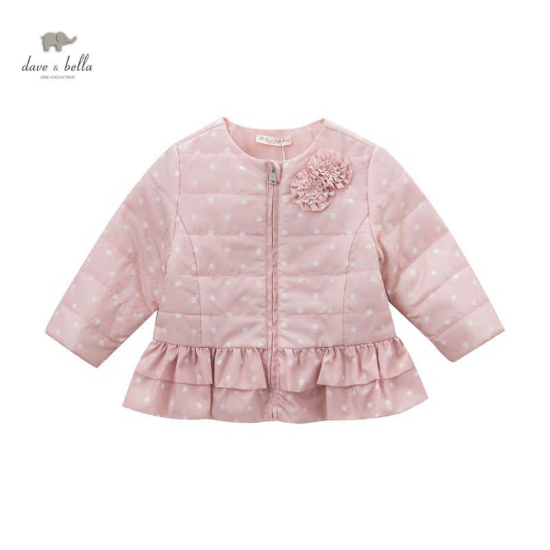 DB4904 davebella spring baby girls pink ruffles coat fancy beautiful dots printed coat total english elementary workbook without key cd rom