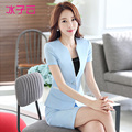 The new women's summer wear short-sleeved suit Korean version of a buckle collarless dress uniforms